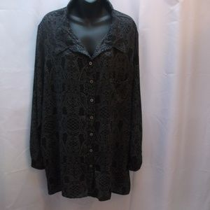 ###Plus Moda Sheer Long Sleeve Button-Up Blouse